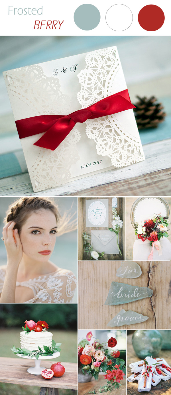 jade and berry red wedding color ideas and laser cut wedding invitations