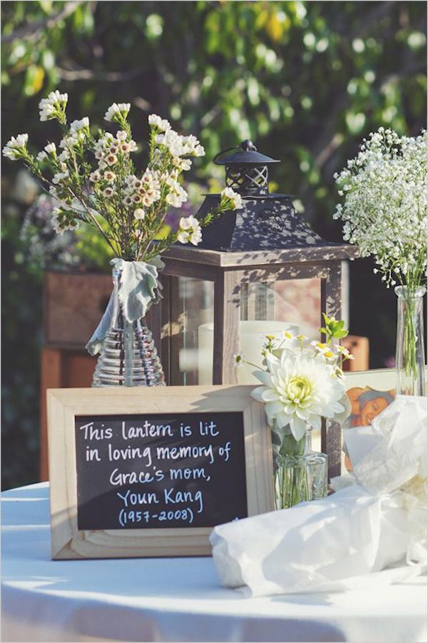 memory lantern to remeber deceased loved ones for rustic wedding ideas