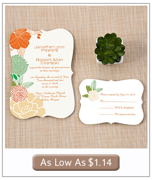 mint and peach floral wedding invitations