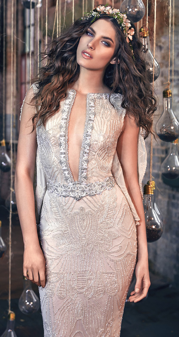 nude mermaid sequins wedding dresses from Galia Lahav Les Reves Bohemians collection Gemma Front