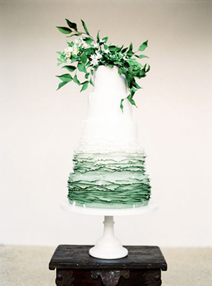 ombre green ruffled wedding cakes with floral