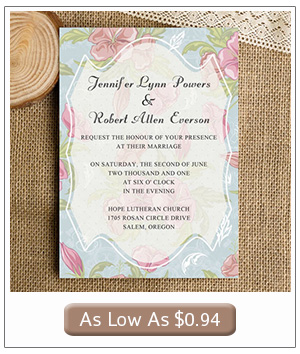 pink and blush summer floral wedding invitation cards