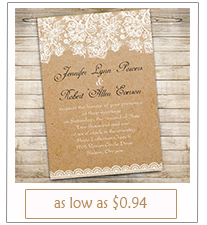 printed lace rustic wedding invitation cards with free rsvp cards