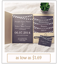 rustic black and gold pocket wedding invitations for backyard wedding ideas