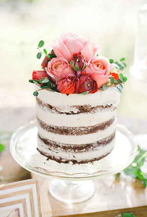 rustic naked chocolate wedding cake with pink and red roses and peonies for country wedding ideas