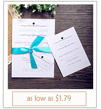 simple but elegant Tiffany colored ribbon wedding invitations