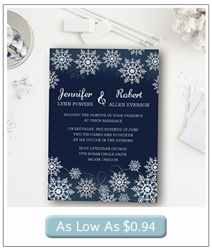 snowflake inspired navy blue winter wedding invitations 2015