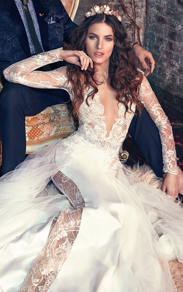 sophisticated deep v neck Galia Lahav wedding dresses with long lace sleeves from Les Reves Bohemians collection Tiger Lily