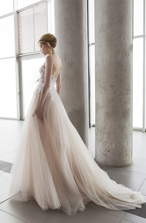strapless blush layered wedding dresses by Mira Zwillinger 2016 stardust collection Fiona