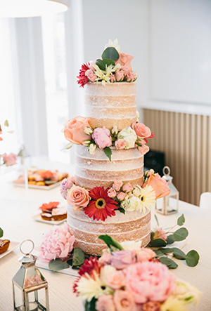 three layered naked floral wedding cakes for rustic wedding ideas