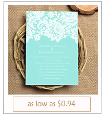 tiffany themed lace printed wedding invitations