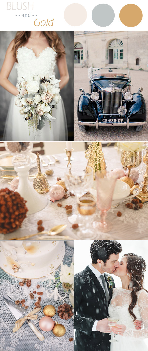 vintage blush pink and gold winter wedding colors 2015