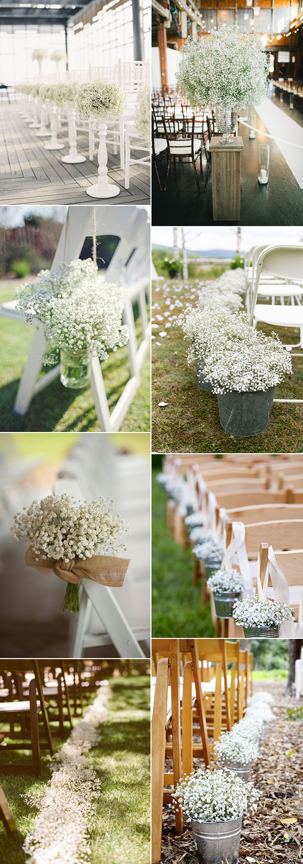 wedding aisle and chair decoration ideas with baby's breath