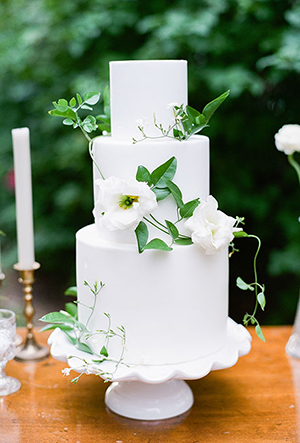 white and green buttercream classic wedding cakes