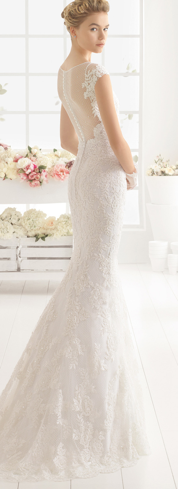 Aire Barcelona mermaid lace wedding dresses 2016 back details