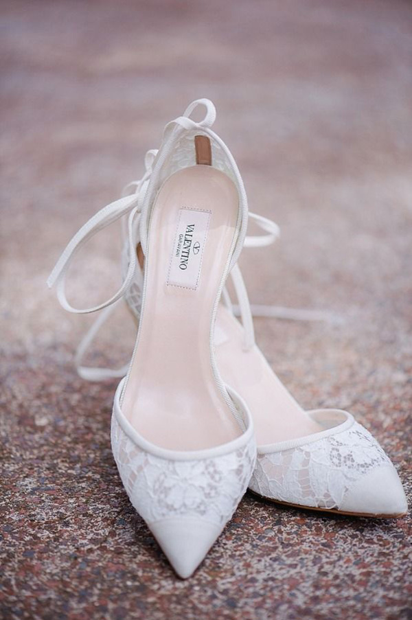 Valentino lace wedding heels neutral colored shoes