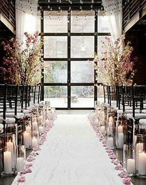 candle decorated aisle for winter ceremony ideas 2015