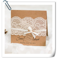 chic rustic lace wedding invitations with free rsvp cards EWLS045