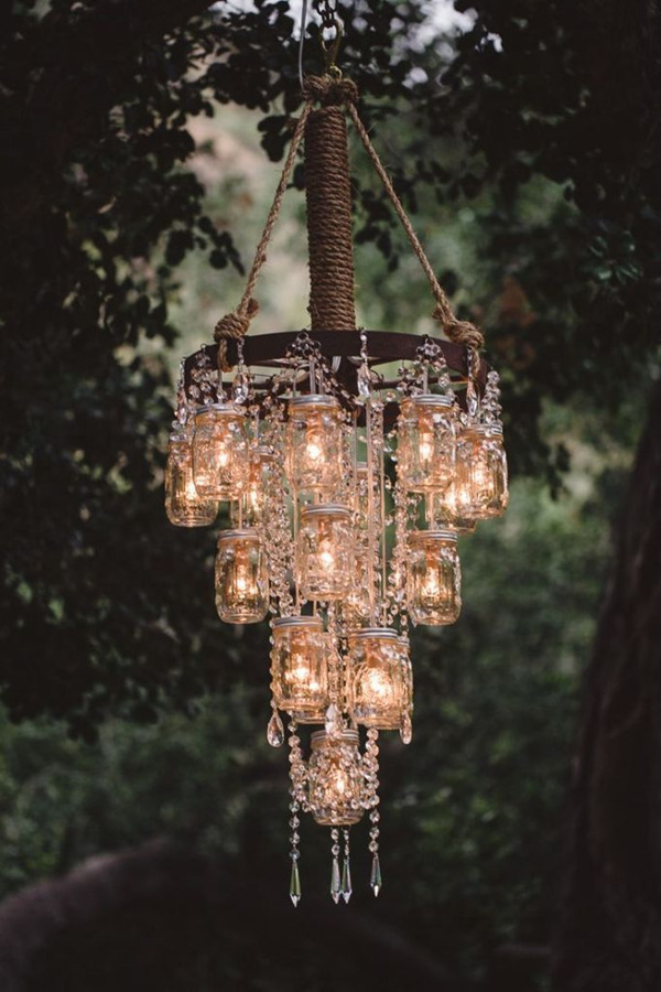Wedding decorations 40 romantic ideas to use chandeliers country rustic diy mason jars inspired wedding chandelier decoration ideas aloadofball Image collections
