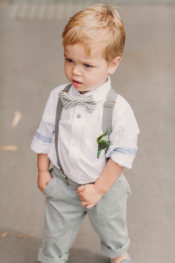 cute ring bearer in chevron bow for summer wedding ideas
