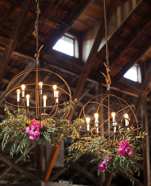 diy rustic wedding chandelier decoration ideas with lights