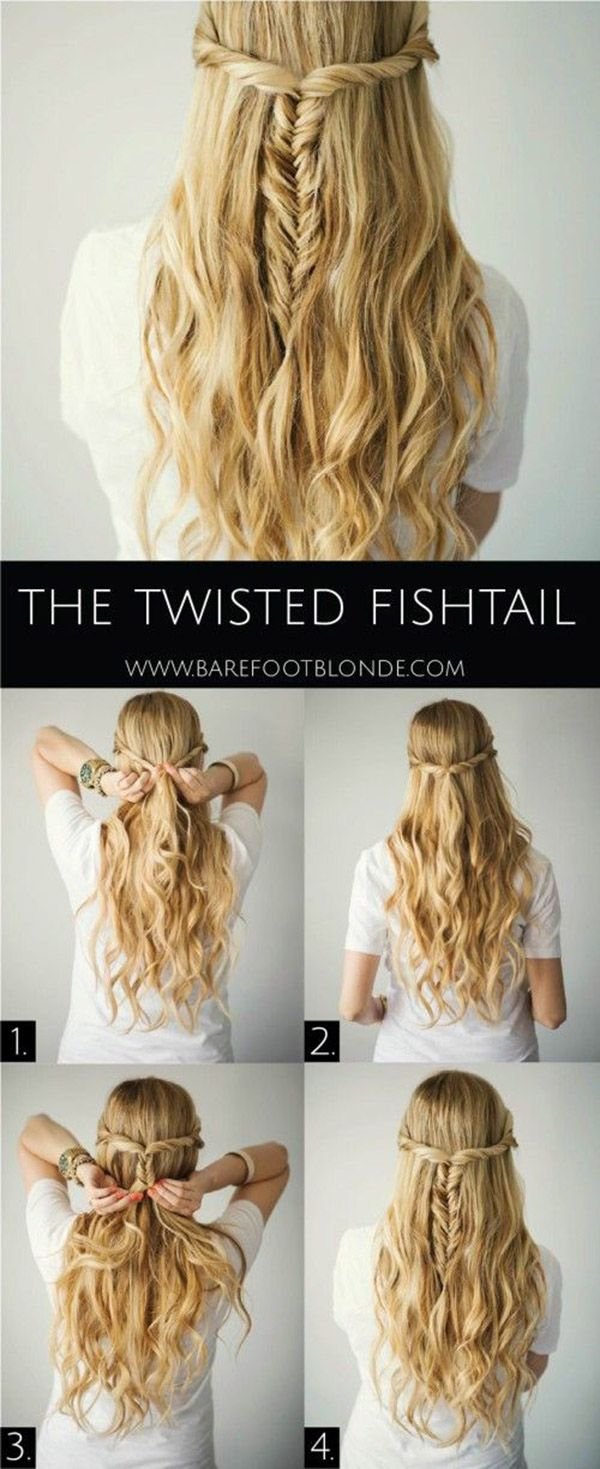 20 diy wedding hairstyles with tutorials to try on your own diy twisted fishtail wedding hairstyles for long hair solutioingenieria Image collections