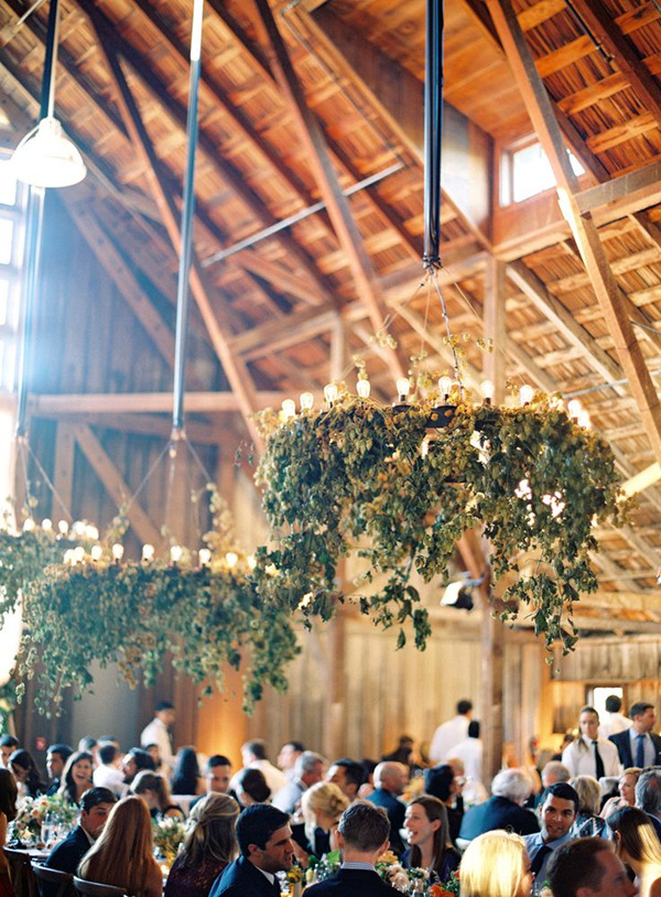 floral chandelier decoration ideas for rustic barn weddings