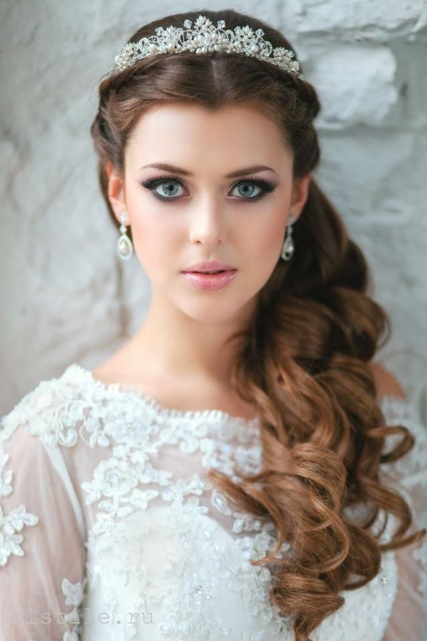 half up half down wedding hairstyles with lace and pearl bridal headpieces