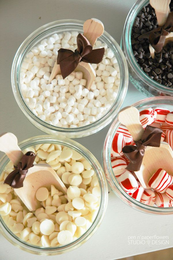 hot cocoa bar buffet for winter wedding ideas 2015