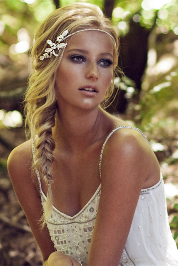 leafy embellishment bridal headpieces for boho wedding ideas