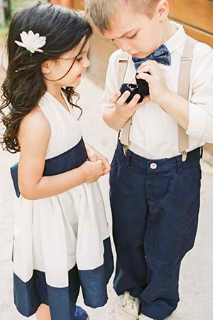 navy blue and cream suits for wedding flower girl and ring bearer