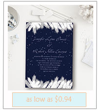 navy blue winter wedding invitations with free rsvp cards