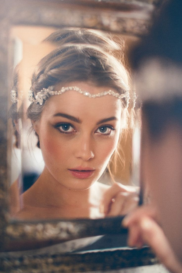 parisian vintage wedding hairstyle and make up with crystal bridal headpiece