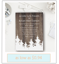 printed wooden inspired winter wedding invitations with free rsvp cards