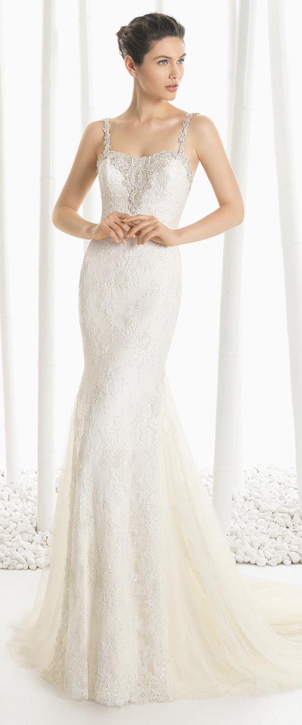 rosa clara dogma lace wedding dresses with straps and sequins details