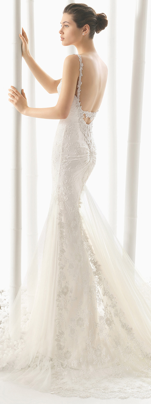 rosa clara dogma mermaid wedding dresses with sequins details back view
