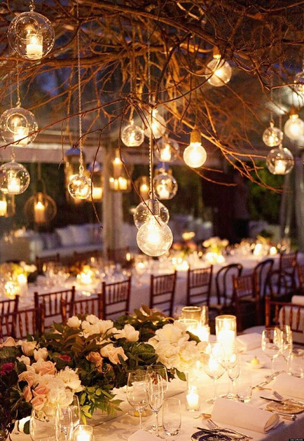 rustic themed winter wedding reception ideas with lights