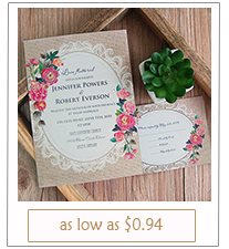 shabby chic floral wedding invitation cards