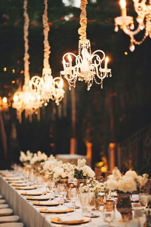 sparkling wedding reception ideas with chandeliers