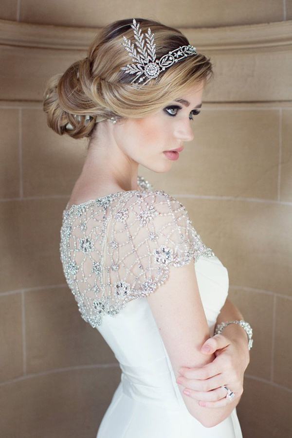 stunning updo wedding hairstyle with gorgeous crystal headpiece
