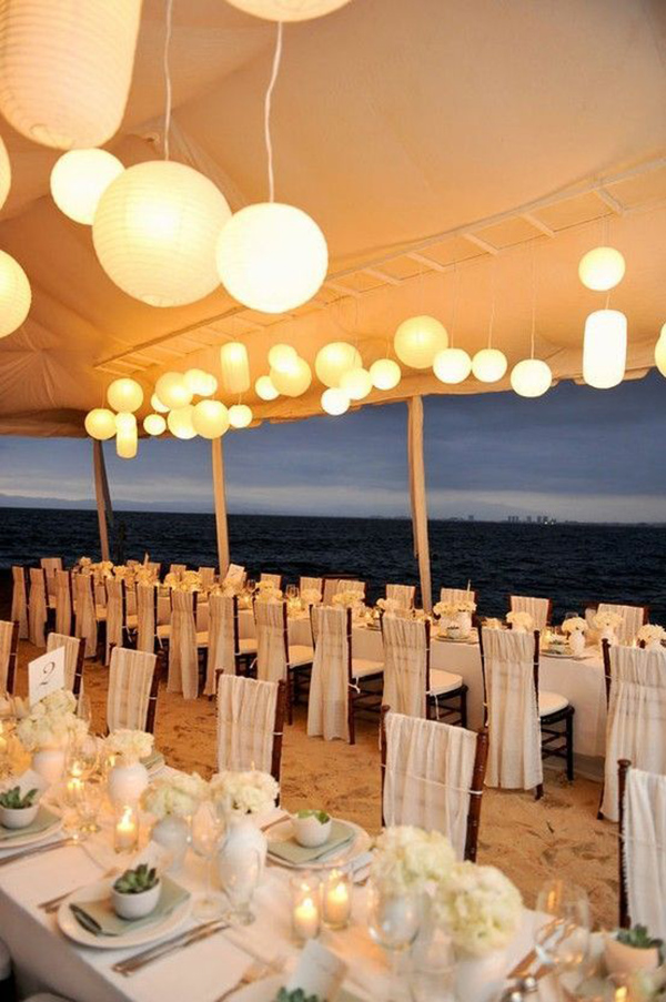 Tented Beach Evening Wedding Reception Ideas With Paper Lanterns
