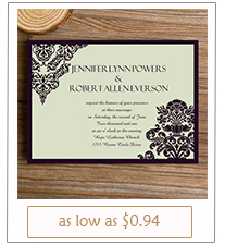 vintage damask simple wedding invitations with free rsvp cards