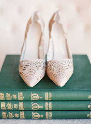vintage neutral colored laser cut wedding shoes