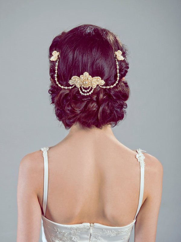 vintage pearl wedding hairstyle headpieces