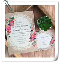 vintage rustic wedding invitation cards with floral EWI397
