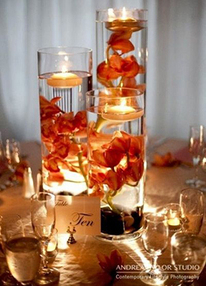 wedding centerpieces with float candles and flowers