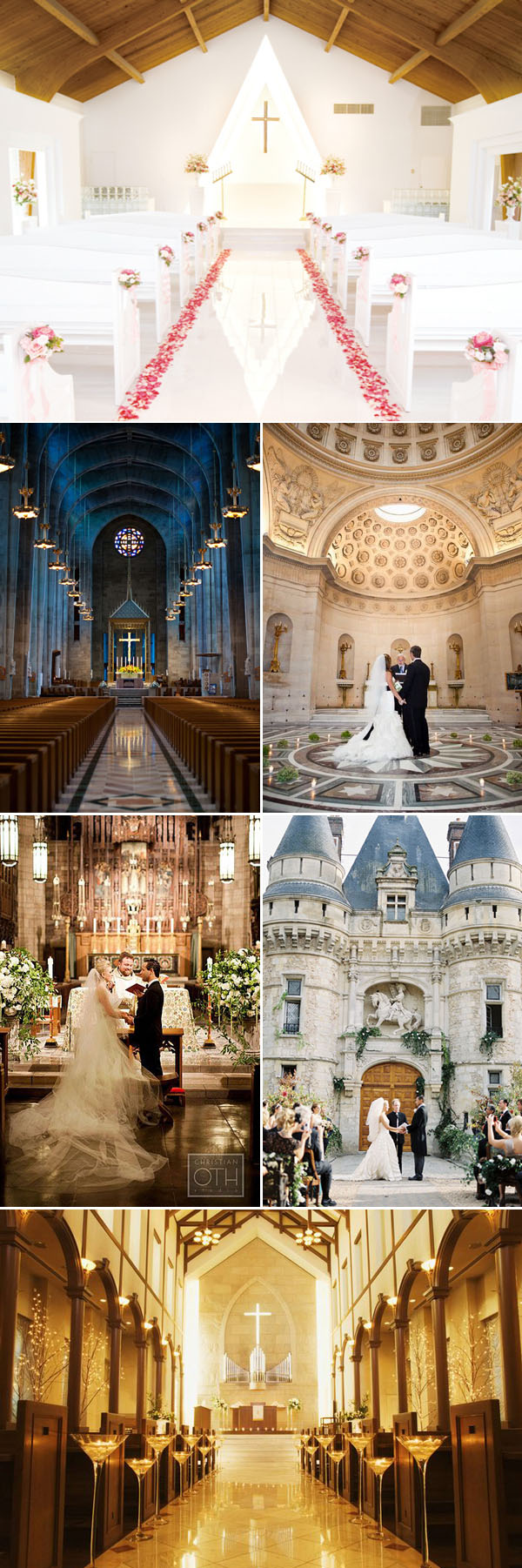 Chapel and Castle wedding altar ideas for traditional events
