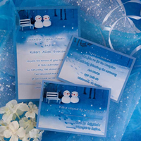 Cheap Blue and white snow wedding invitations EWI164