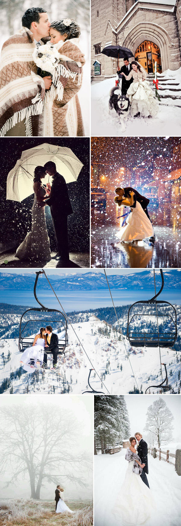 Snowy winter wedding photo inspiration