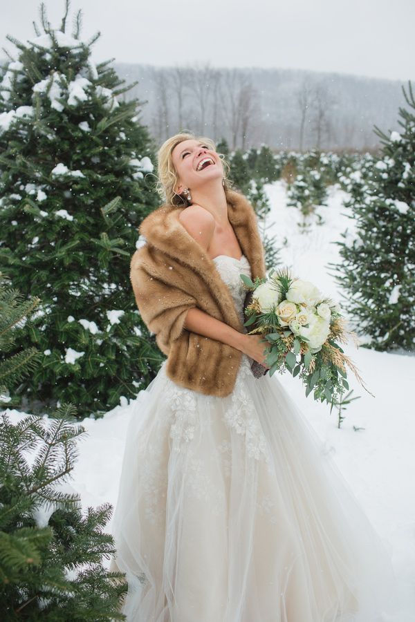 Winter style with glitter accents wedding dress